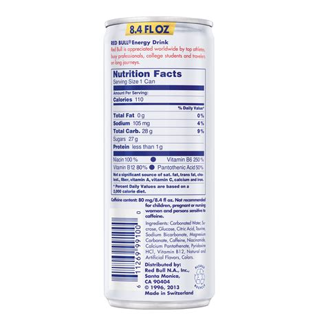 energy drink 8 oz can bull nutrition label caffeine nutrition ftempo