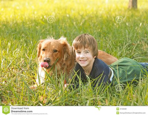 boy golden retriever boy and golden retriever royalty free stock images image 4142599