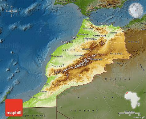 physical map of morocco marokko geographischen karte