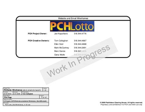 Pch Lotto Full Site - wireframes visio