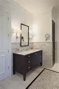 Bathroom Vanity Tile Ideas Halhf Tile Wall With Vanity Tiled Border Espresso