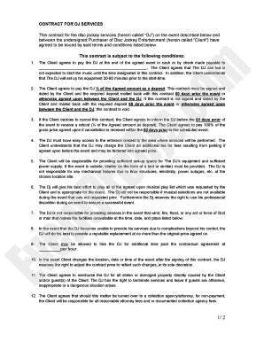 disc jockey contract template dj contract forms and templates fillable printable