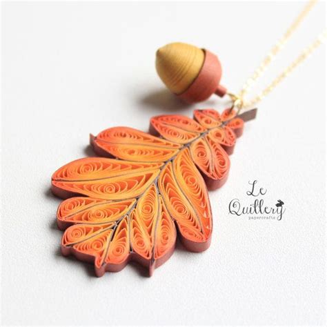 Handmade Leaf Paper - ooak handmade paper quiling jewelry autumn oak leaf by