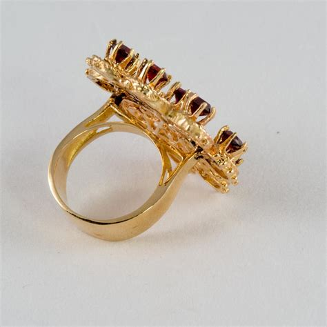 14k gold ring garnet spray