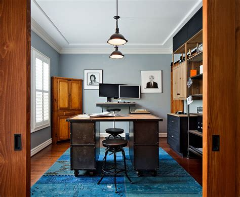 Industrial Home Office by 20 Colorful Ways To Enliven Your Gray Home Office