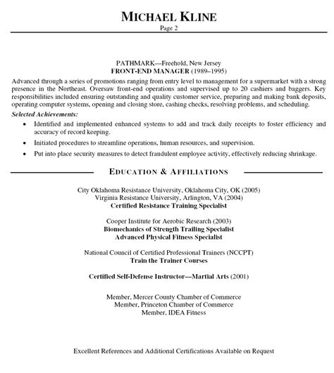 personal trainer resume template personal trainer resume page 2