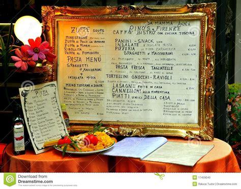 Table Restaurant Menu Italian Restaurant Menu On A Table Editorial Image Image