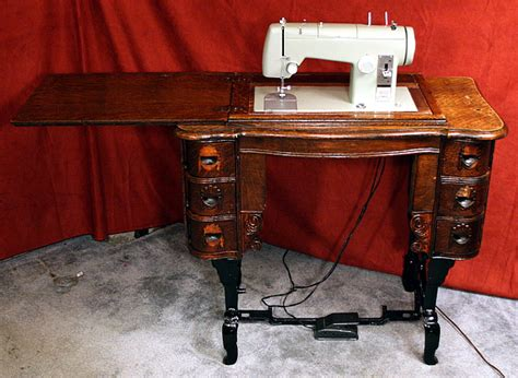 used sewing machine table ish sewing machine into an table