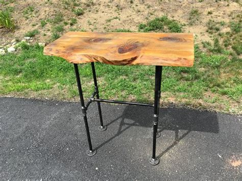 industrial pipe sofa table custom wood and black iron pipe sofa end table rustic