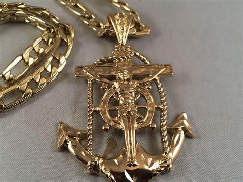 cadenas de oro rosario cruz ancla cadena oro rosario sinaloense medalla k nuevo