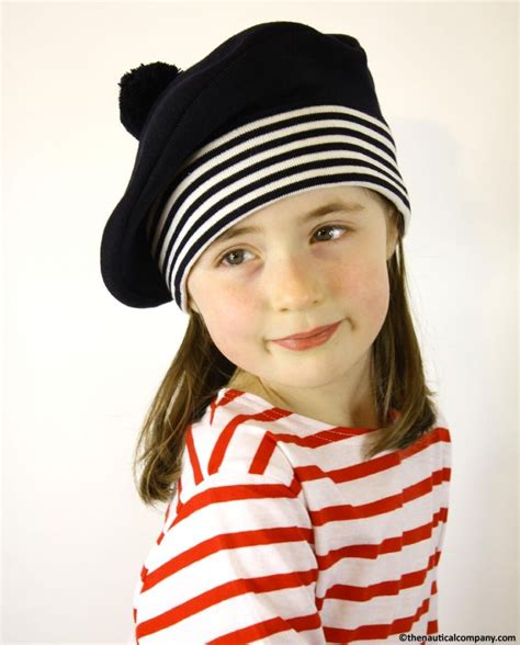 child in french children s navy blue nautical beret hat sailor beret