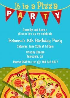 Pizza Party Birthday On Pinterest Pizza Party Themes Pizza Birthday Parties And Chef Party Pizza Invitation Template