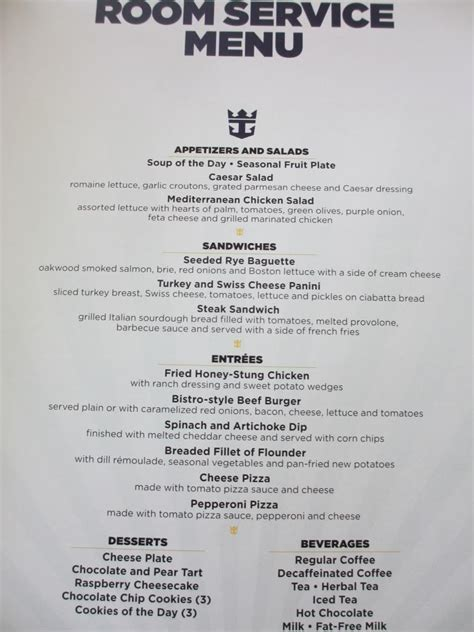 in room dining menu liberty of the seas dining room menu room design ideas