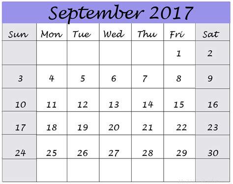 Calendar 2017 September October September 2017 Calendar Printable Calendar 2017 Printable