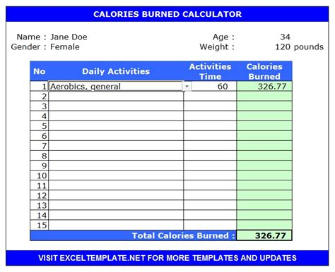 calorie calculator calorie calculators microsoft and open office templates