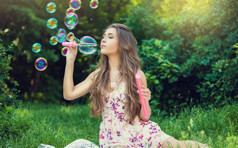 wallpaper girl in nature girl nature bubbles mood hdwallpaperfx