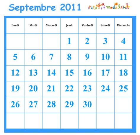 Calendrier Juin 2011 Septembre 2011 Grille Du Calendrier A Cocher T 234 Te 224 Modeler