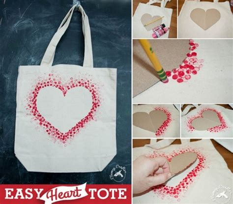easy diy how to make simple lovely diy heart tote bag how to