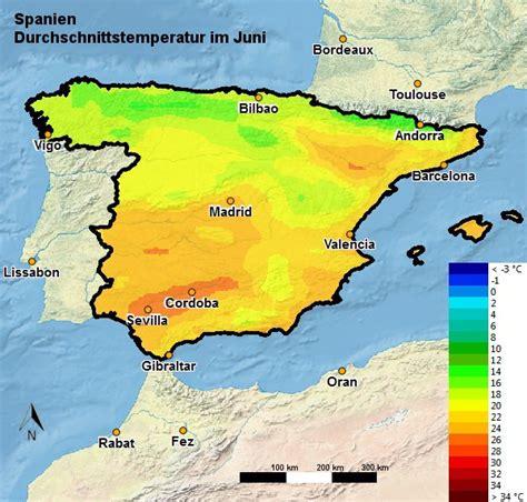 tabelle spanien spanien wetter klima im juni temperatur regen