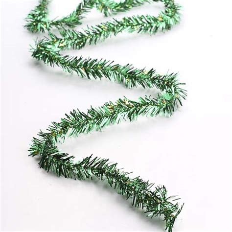 green tinsel garland with gold stars christmas garlands