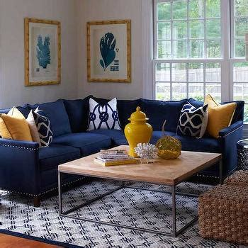 Living rooms Navy Blue And Yellow Room Design Ideas