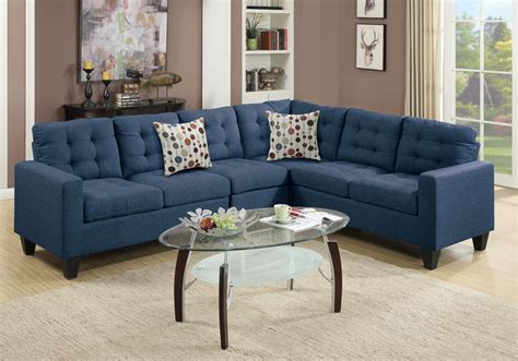 Plush Sectional Sofas Reversible Sectional Sofa Loveseat Wedge Plush Tufted Seat Navy Polyfiber Ebay