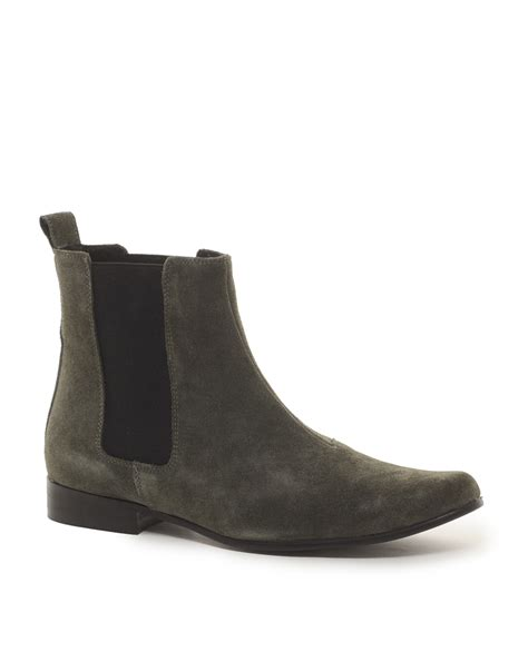 asos asos chelsea boots in suede in brown for grey