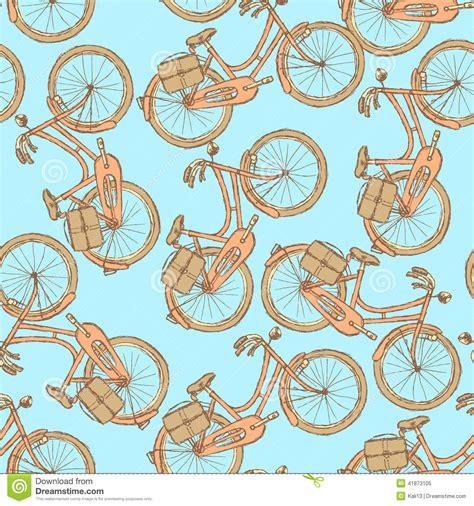 vintage pattern sketch sketch bicycle vector vintage seamless pattern stock