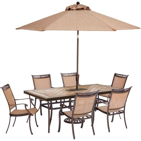 Umbrella And Table Set Hanover Fontana 7 Aluminum Rectangular Outdoor
