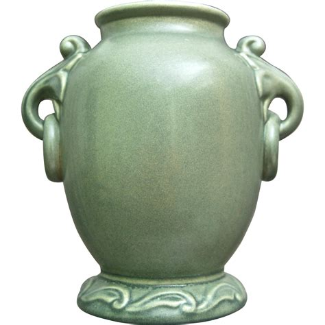 Rumrill Vase by Rumrill Pottery Vase 640 Green Circa 1937 From