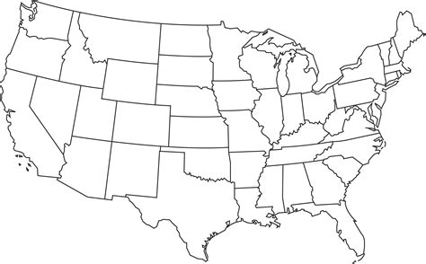 us map outline states blank outline map of the united states of america clipart best