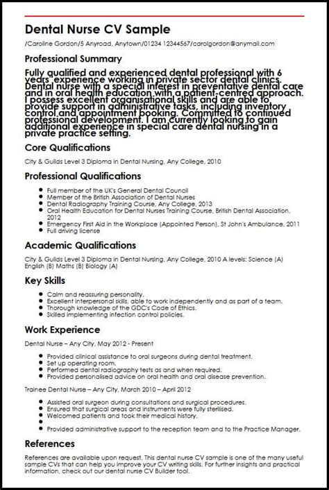 Nursing Cv by Dental Cv Sle Myperfectcv