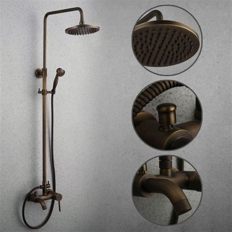 Vintage Style Antique Shower Bathroom Shower Set Bronze Shower Mixer Blue And White Porcelain Antique Rubbed Bronze Tub Shower Tap With 8 Inch Shower Shower Tsa004 Tsa004