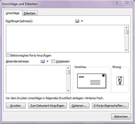 Word Vorlage C6 Umschlag Umschl 228 Ge Und Etiketten In Word Erstellen Office Lernen
