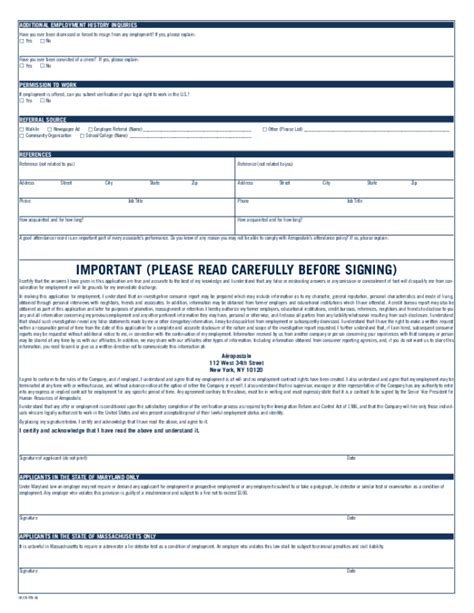 printable job application form for aeropostale free printable aeropostale job application form page 2