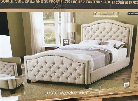 costco bed pulaski furniture upholstered bed costco weekender