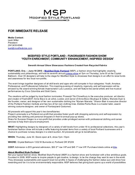 2016 fashion show press release