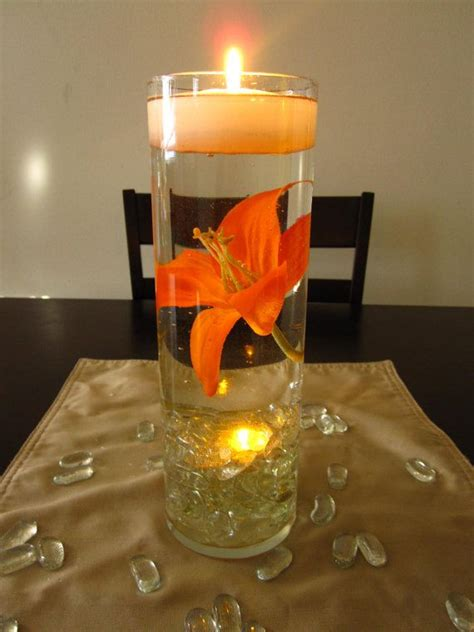 wedding reception centerpieces floating candles floating candle wedding centerpiece kit orange lilies led