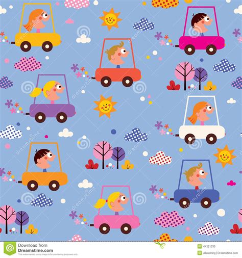 cute kid pattern cute kids driving cars pattern stock vector image 44221333