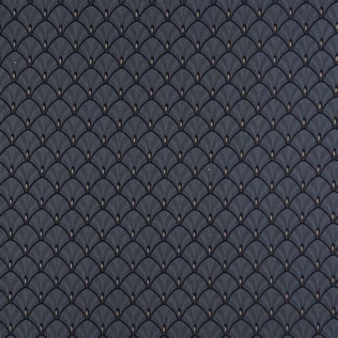 Navy Blue And Gold Fan Jacquard Woven Upholstery Fabric By