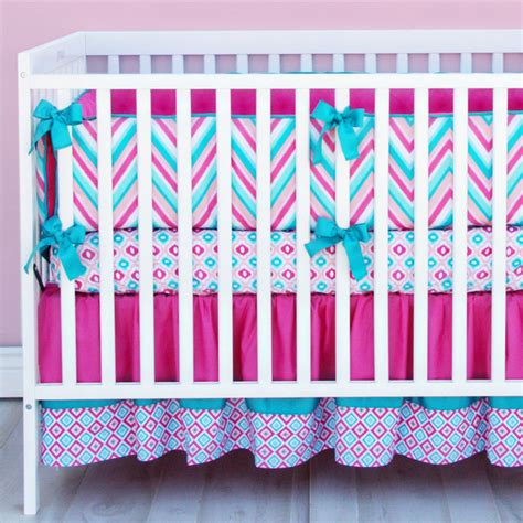 pink and turquoise baby bedding lila pink and turquoise chevron crib bedding