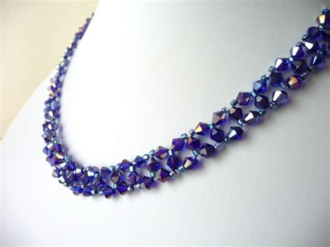the bead jewelry metallic purple beaded jewelry necklace bead woven