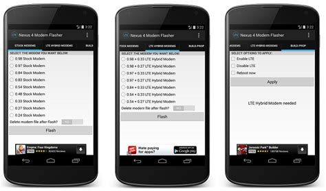 Modem Flash Second easily flash a hybrid modem to gain 4g lte connectivity on your nexus 4 without a pc