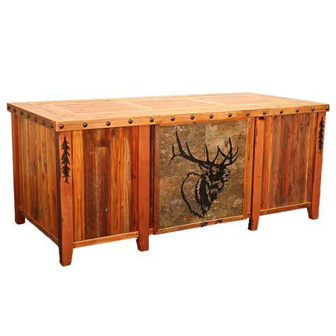 Barnwood Desk by Barnwood Elk Tile Executive Desk With Tree Carving