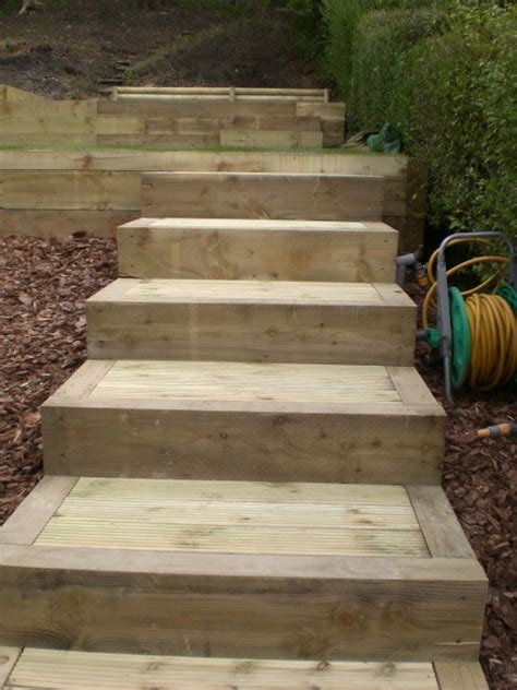 How To Build Steps With Railway Sleepers by Brick Steps Railway Sleeper Steps Garden Steps Landscape