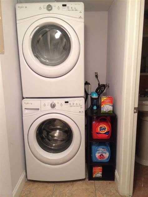stacked washer  dryer organization  small space