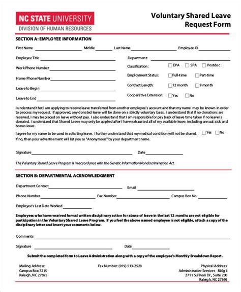 16 leave request form sle free sle exle format