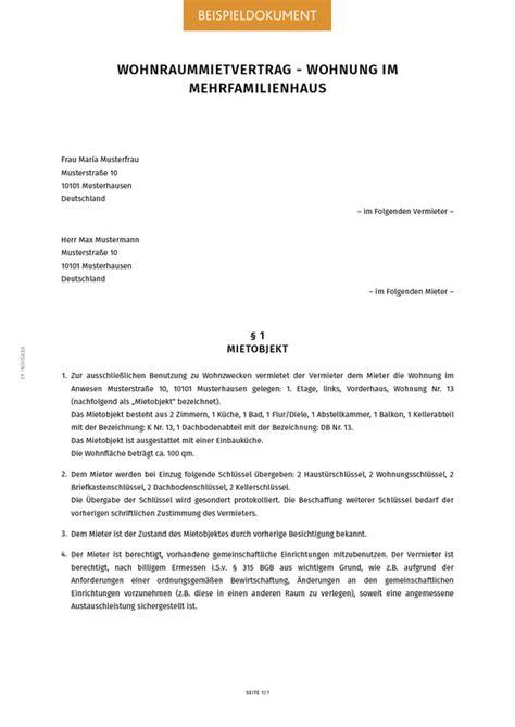 Muster Mietvertrag Wohnung Mietvertrag Fr Wohnungen Johannes Vogt Muster Mietvertrag