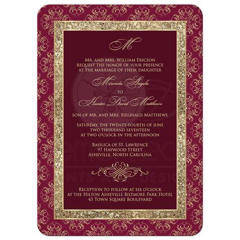 Wedding Invitations Burgundy by Wedding Invitation Burgundy Gold Elegance Monogram