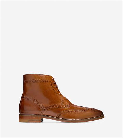 cambridge boots lyst cole haan cambridge wingtip boot in brown for